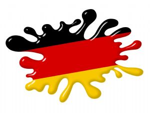 3D Shaded Effect SPLAT Design With Germany German Flag Motif External Vinyl Car Sticker 100x150mm